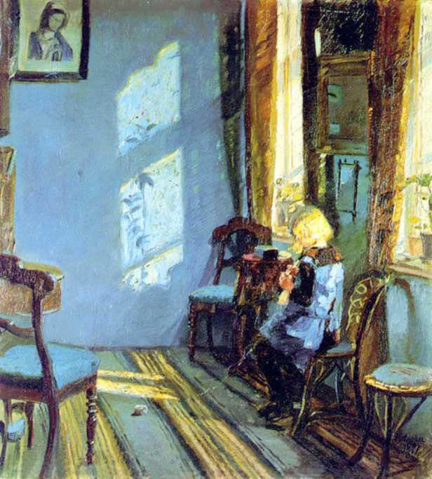 Soleil dans la pièce bleue - Anna Ancher (1891)