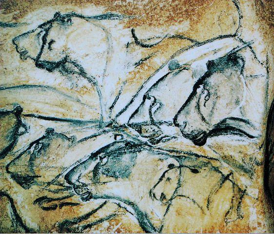 Réplique d'une peinture du lion des cavernes européen au musée anthropologique de Brno.
