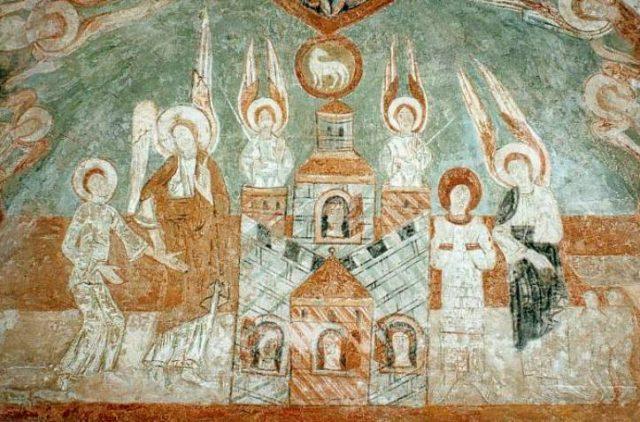 Fresque romane de l'abbatiale de Saint-Chef